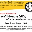 Yummy & Easy $$$$$ for the Troop Troop 682 is holding a fundraiser restaurant day at the Kebab Shop located in the Vons Center in Rancho Bernardo. Details: When:  Sunday, 7/19/15 Time:  All Day ~ 10:30am-9pm Location:  The Kebab Shop RB @ 11980 Bernardo Plaza Drive (Von's Center) How does it works:  Bring the attached flier and 50% of your  sale is […]