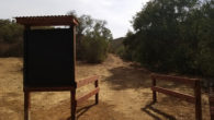 Justin is building an entrance to one of the trails at Dos Picos County Park, along with a sign board for the rangers to post important information.